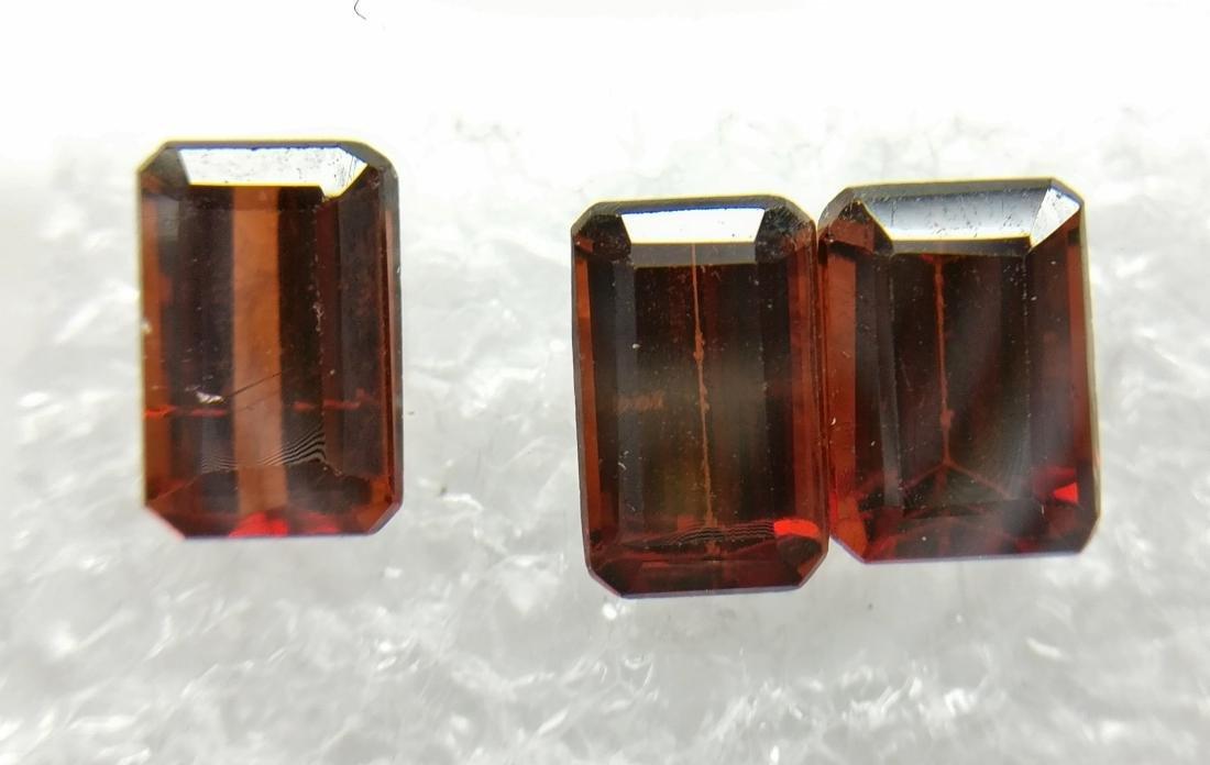 Triple of 3 Pyrope/Spessartite Deep Brownish Red 3.57
