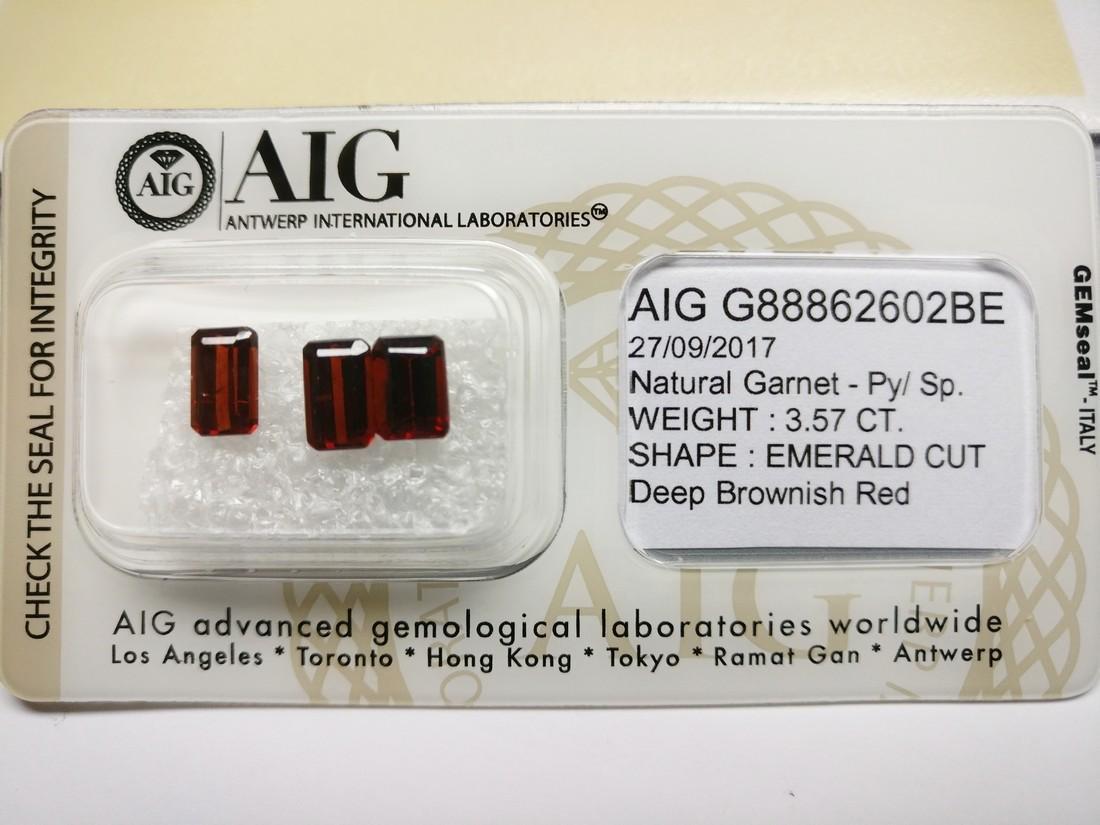 Triple of 3 Pyrope/Spessartite Deep Brownish Red 3.57 - 2