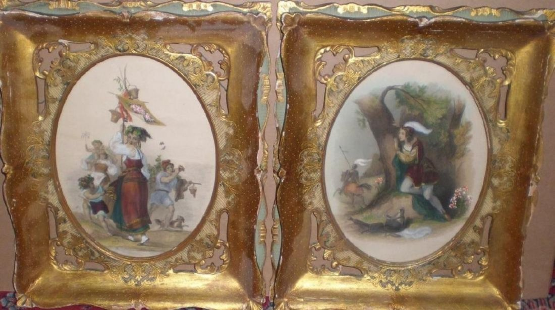 Pair of Color Oval French Etchings Framed