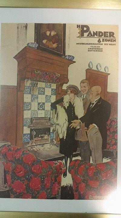 Original Hand Painted Advertisement Dutch Furniture