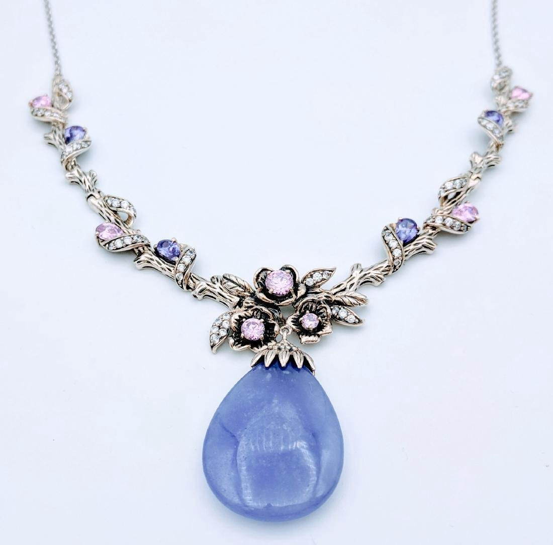 Sterling Silver Violet Jade Sapphire Amethyst Necklace