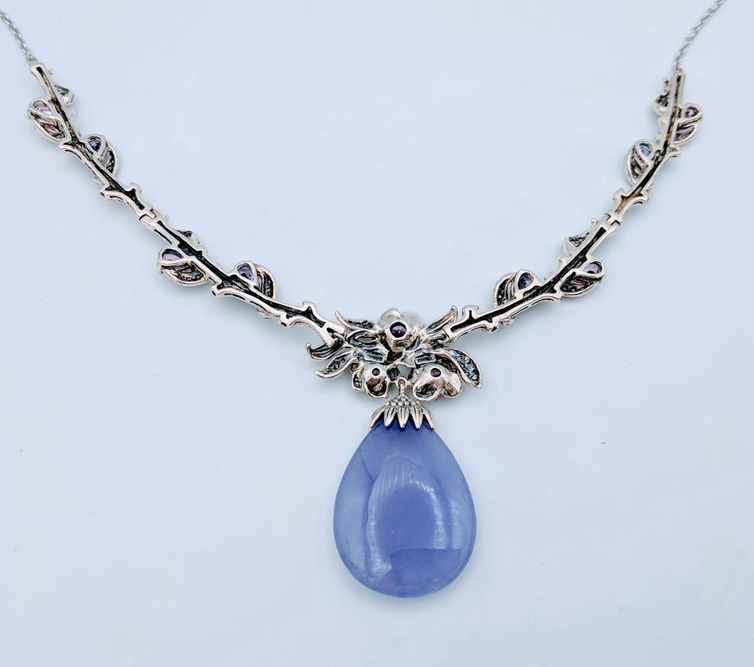 Sterling Silver Violet Jade Sapphire Amethyst Necklace - 3