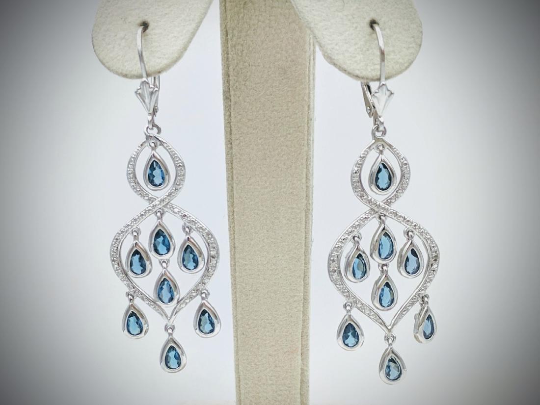 Sterling Silver Blue Topaz Diamond Earrings
