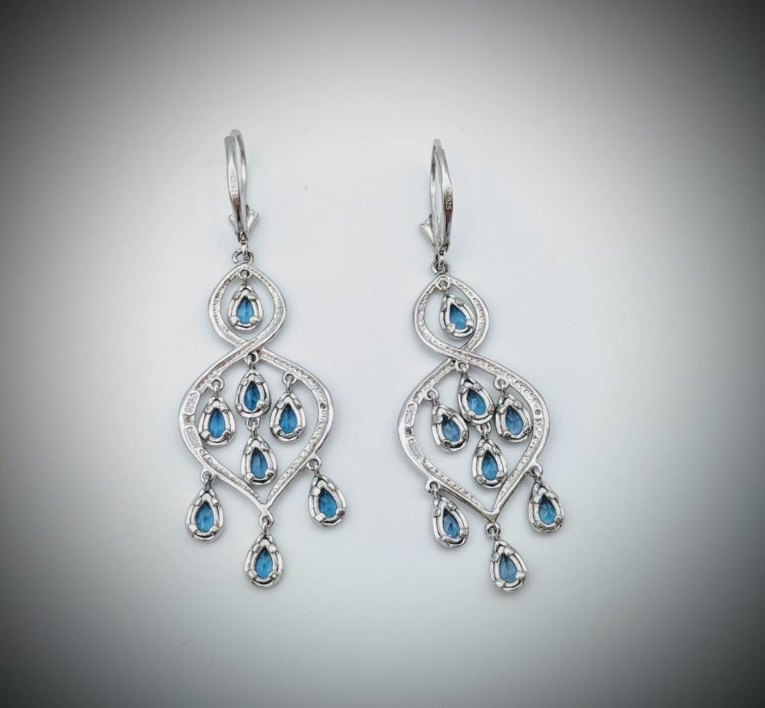Sterling Silver Blue Topaz Diamond Earrings - 3