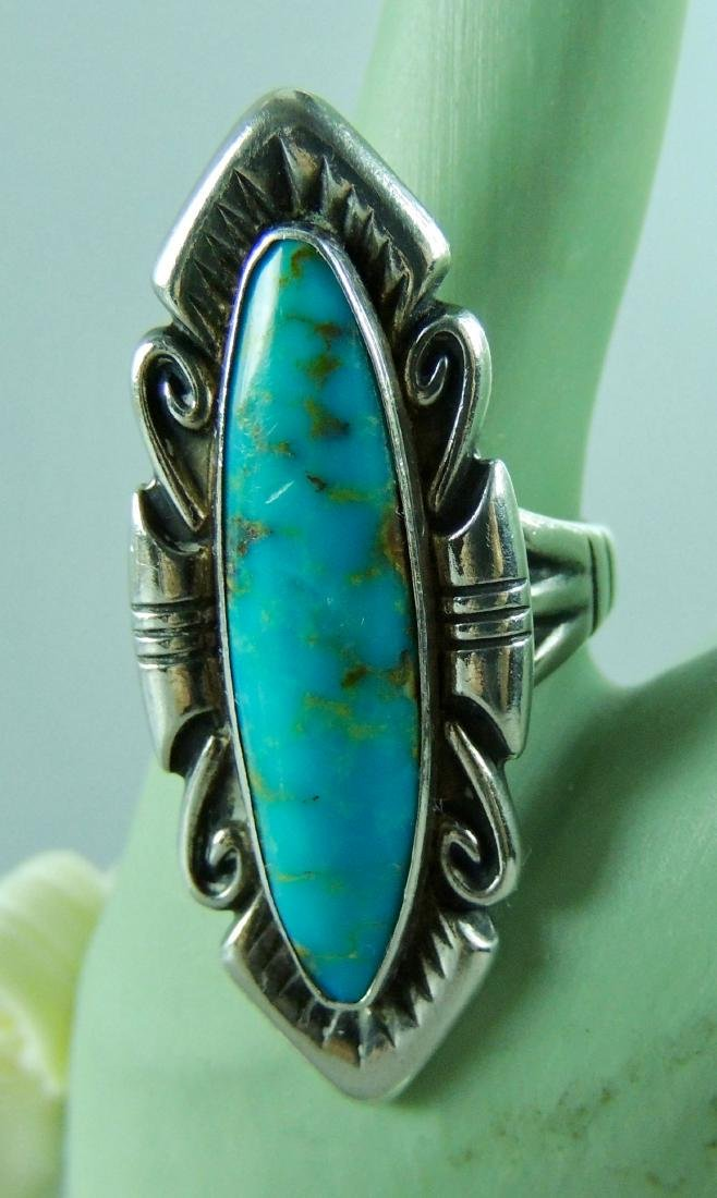 Fred Harvey Era Navajo Turquoise Sterling Silver Ring