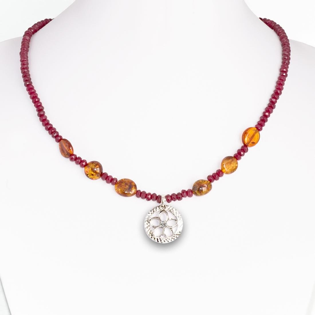 Sterling Silver Red Skin Jadeite Baltic Amber Necklace