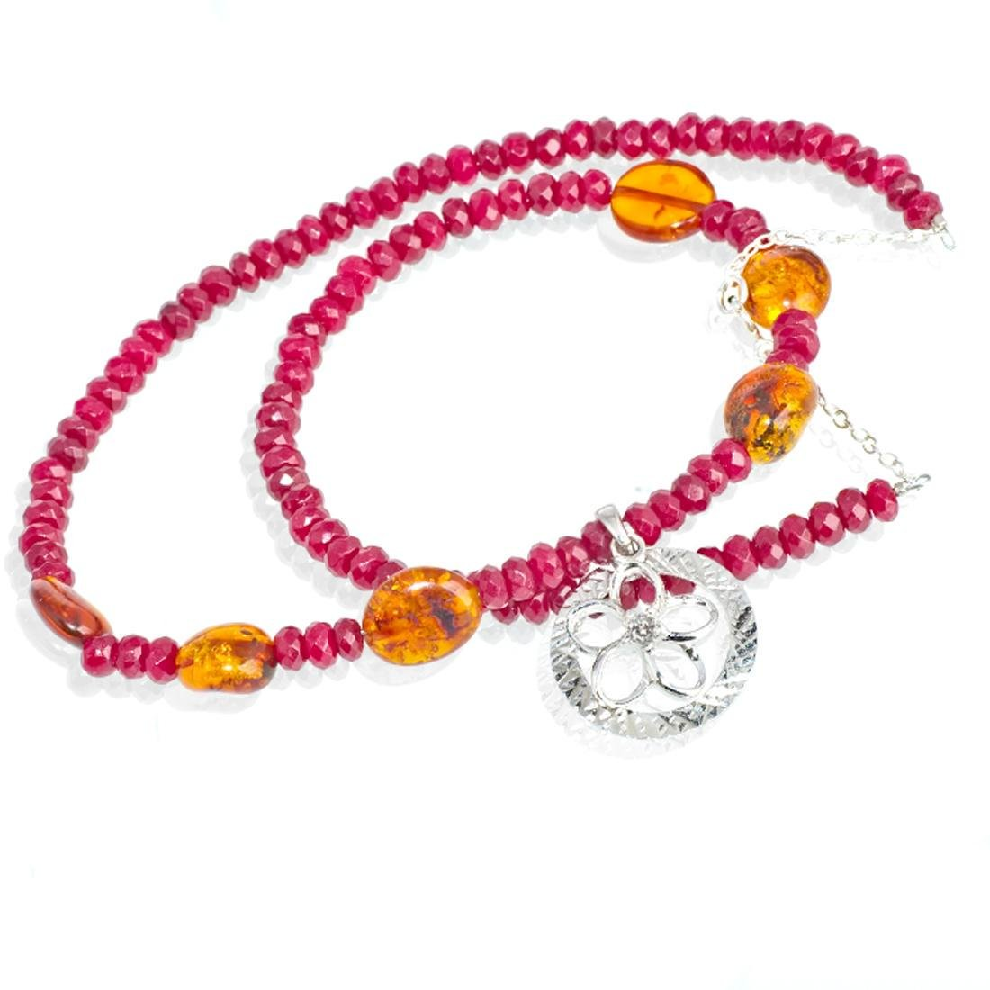 Sterling Silver Red Skin Jadeite Baltic Amber Necklace - 3