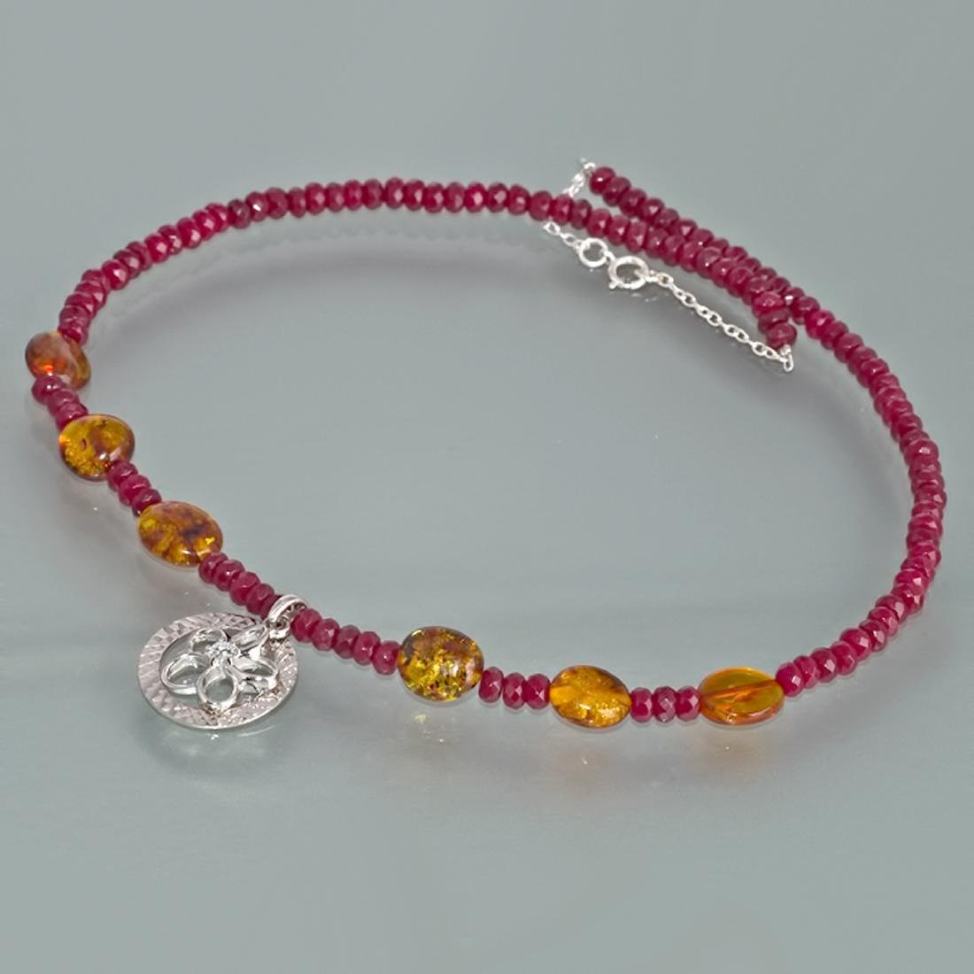 Sterling Silver Red Skin Jadeite Baltic Amber Necklace - 4