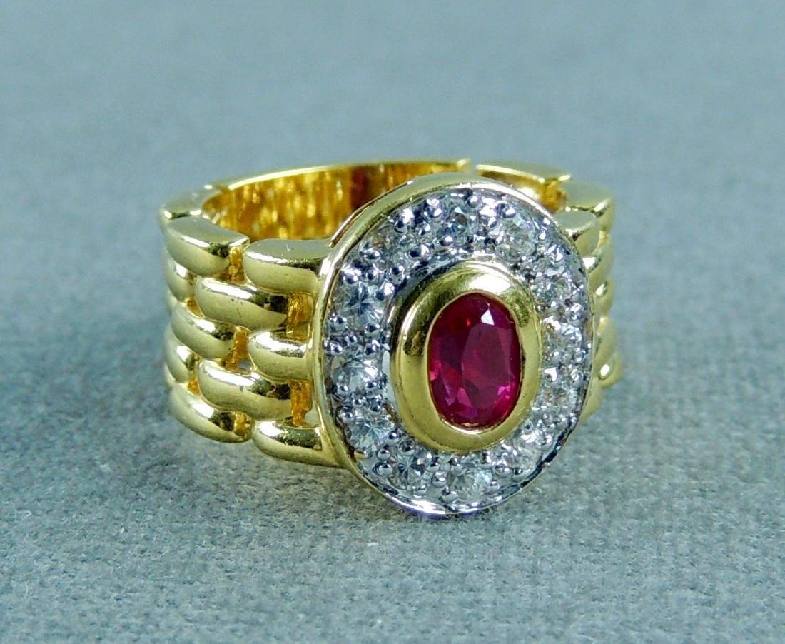 Vintage EDCO Gold over Sterling CZ Ruby Color Ring