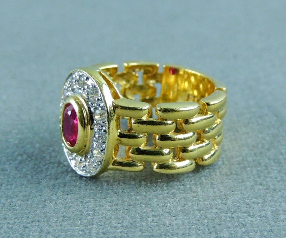 Vintage EDCO Gold over Sterling CZ Ruby Color Ring - 2