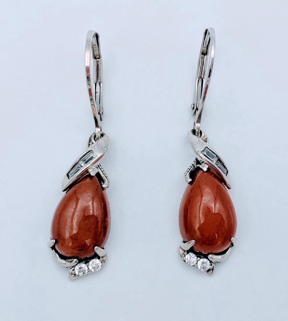Sterling Silver Jasper Cubic Zirconia Earrings