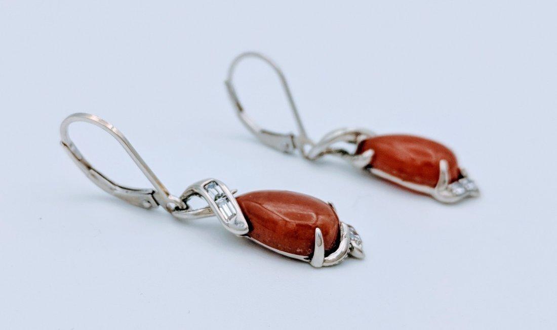 Sterling Silver Jasper Cubic Zirconia Earrings - 2