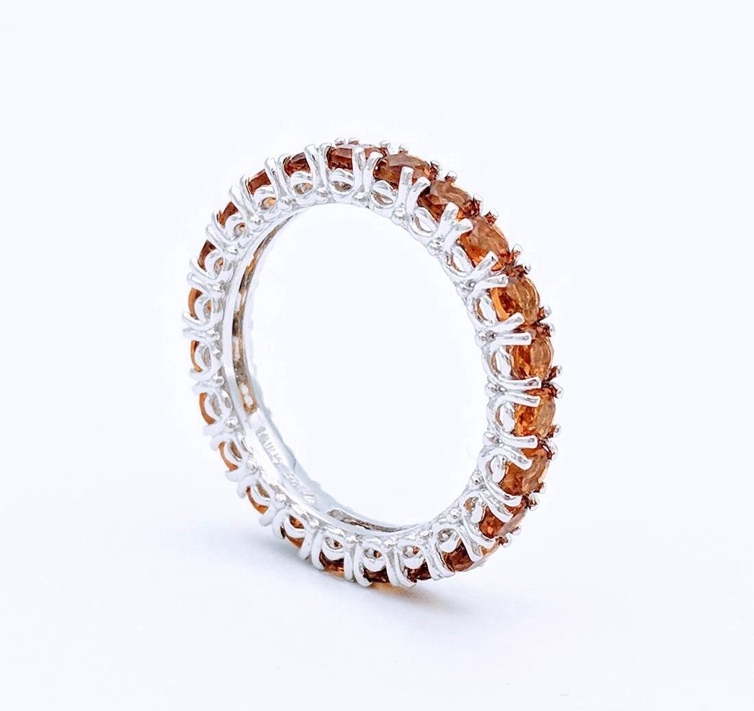 Sterling Silver Golden Citrine Eternity Ring, .92ctw