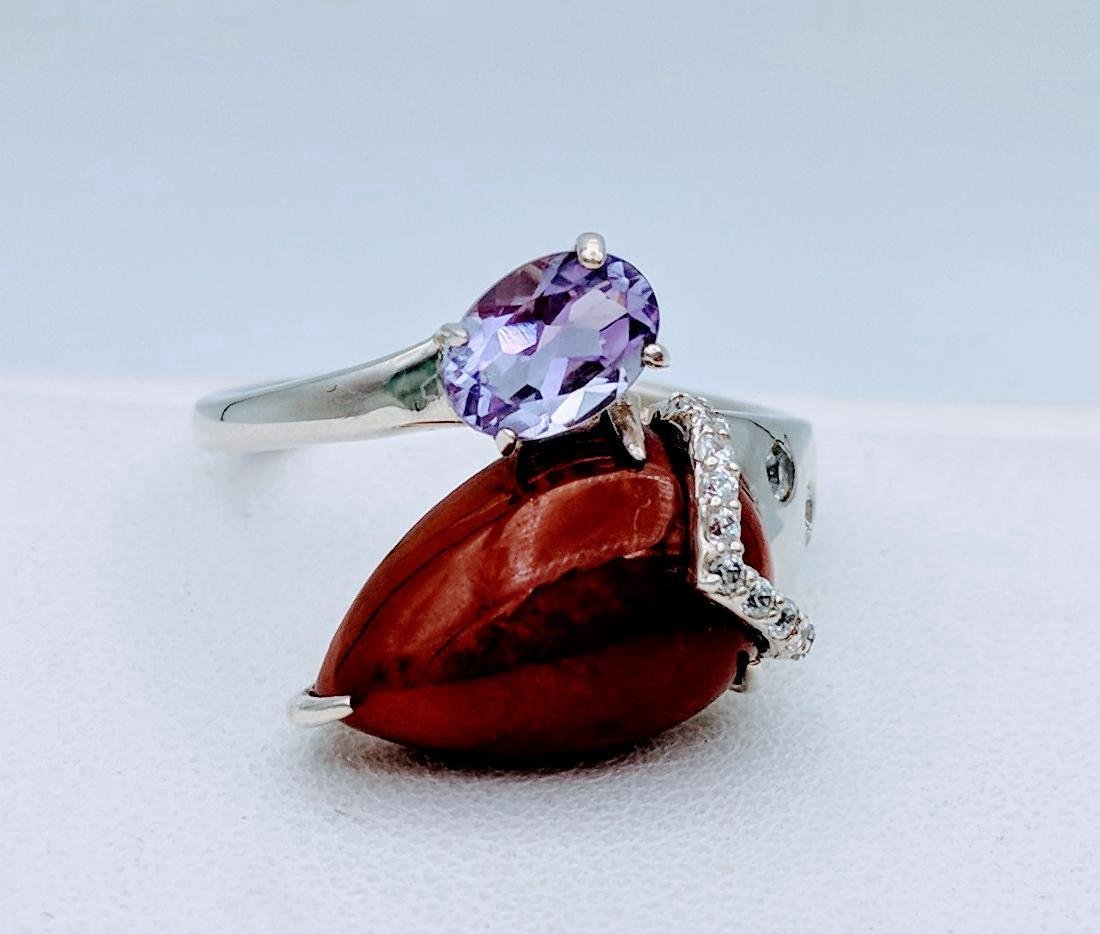 Sterling Silver Jasper Amethyst CZ Ring, .75ct