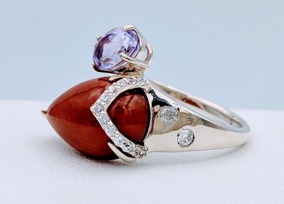 Sterling Silver Jasper Amethyst CZ Ring, .75ct - 2