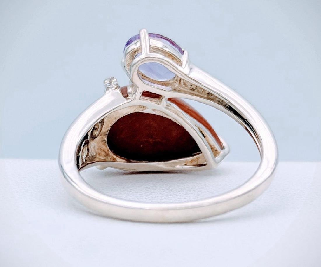 Sterling Silver Jasper Amethyst CZ Ring, .75ct - 3