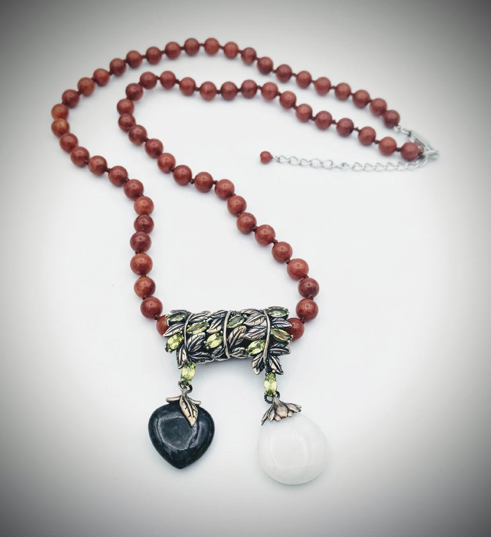 Sterling Silver Nuumite Jadeite Jasper Bead Necklace