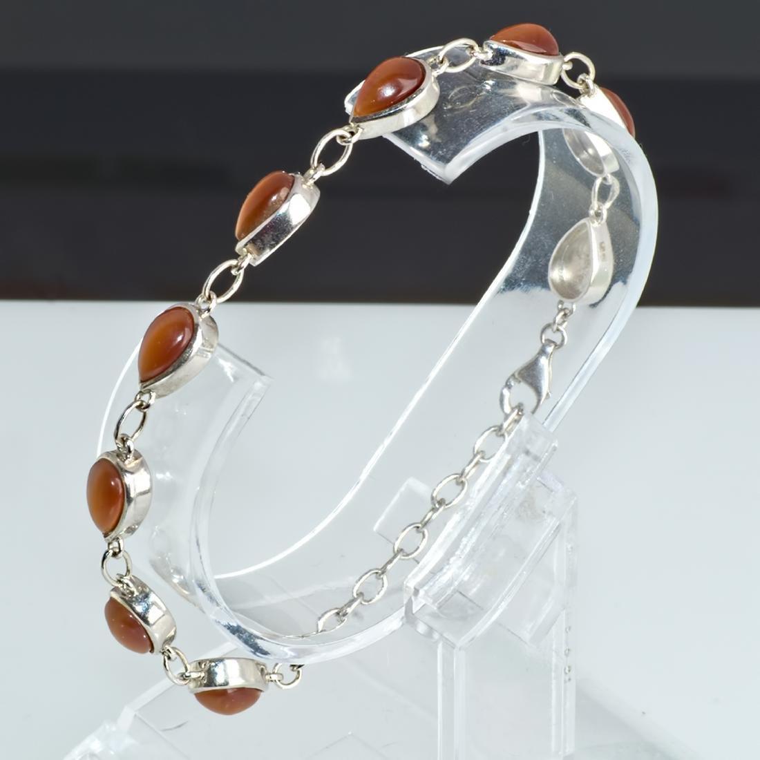 Vintage 925 Silver Bracelet with Tiger Eye - 2