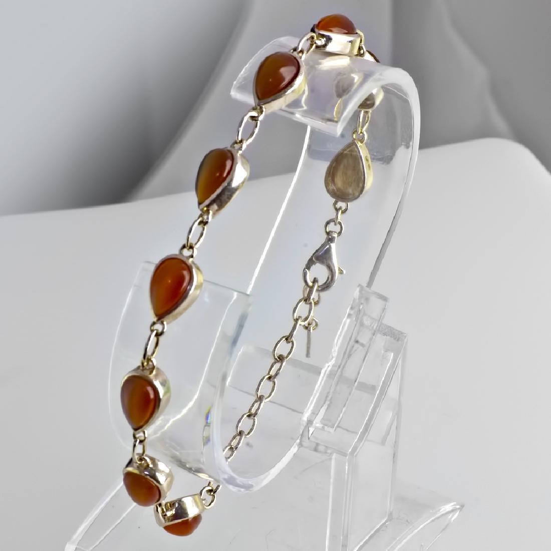 Vintage 925 Silver Bracelet with Tiger Eye - 4
