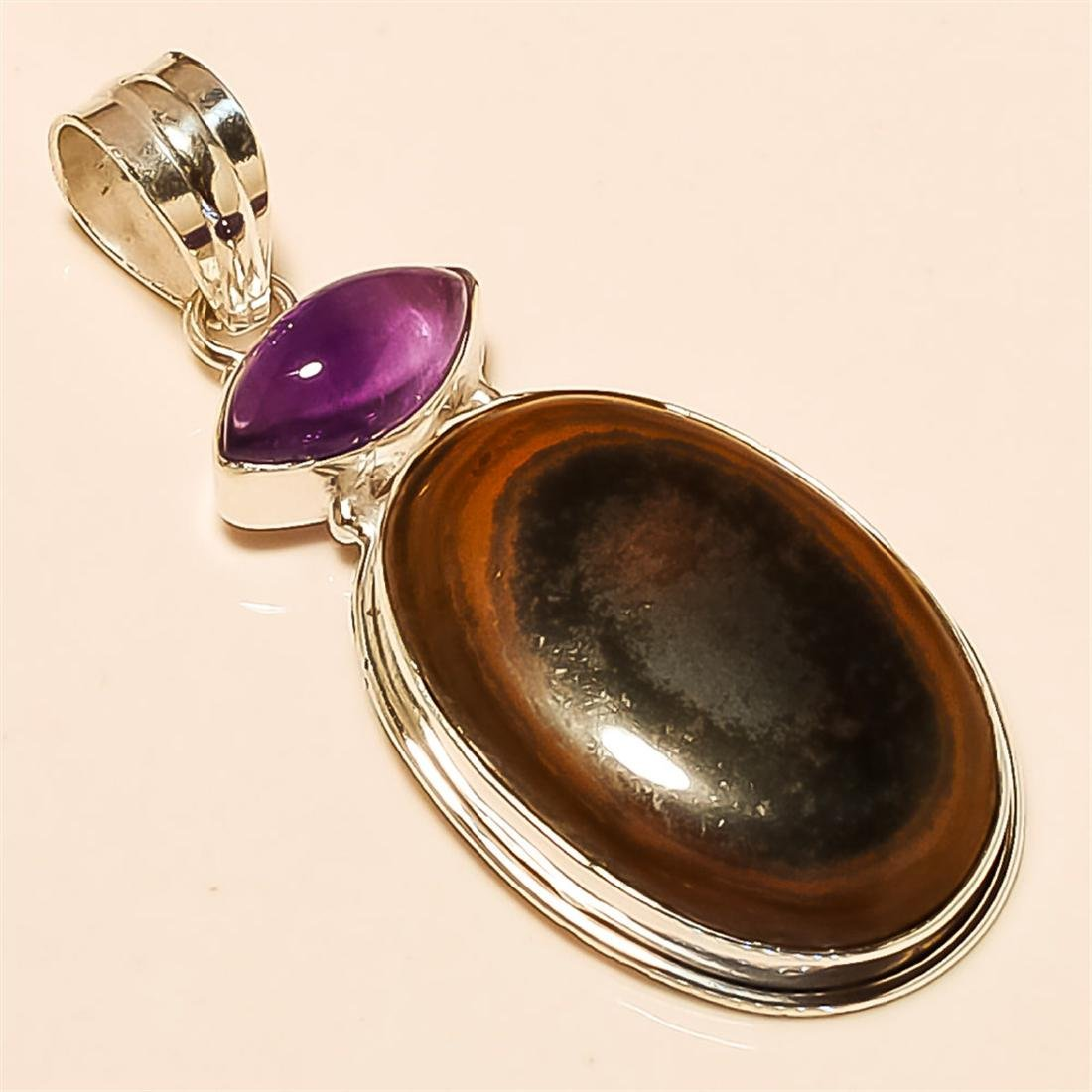 Copper Obsidian/Amethyst   Pendant Solid Sterling