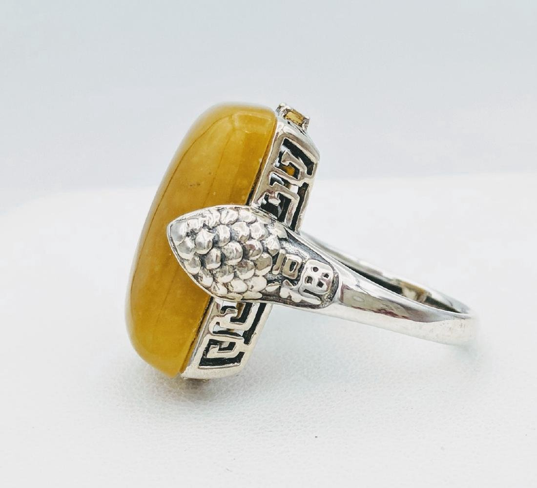 Sterling Silver Yellow Jade Citrine Ring - 2