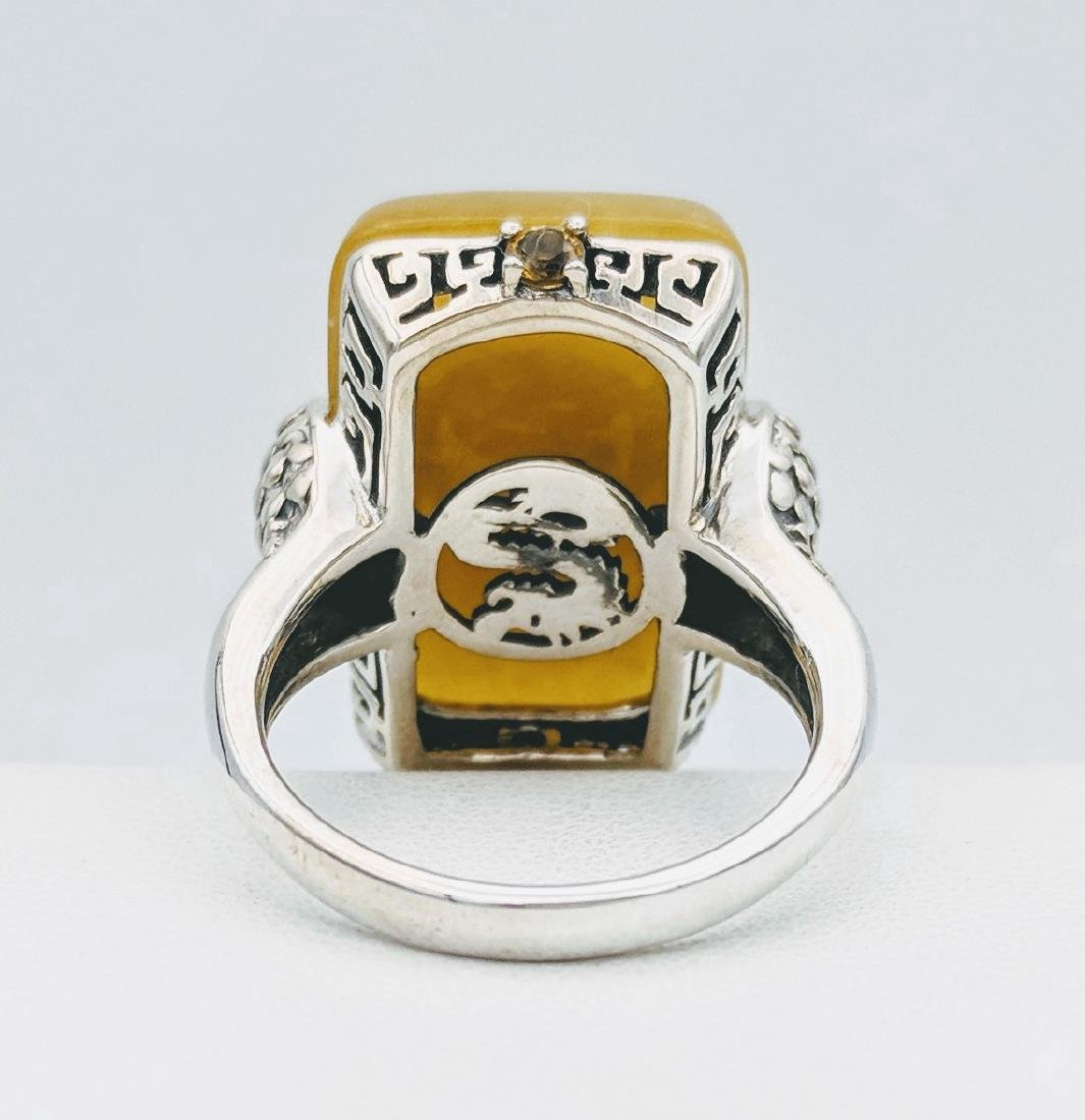 Sterling Silver Yellow Jade Citrine Ring - 3
