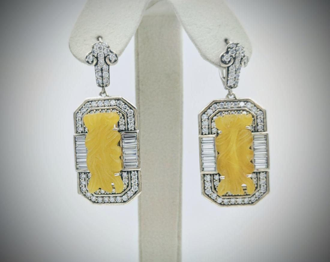 Sterling Silver Yellow Jade CZ Imperial Design Earrings