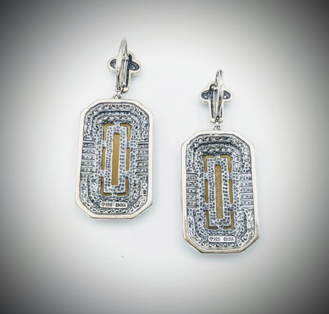 Sterling Silver Yellow Jade CZ Imperial Design Earrings - 3