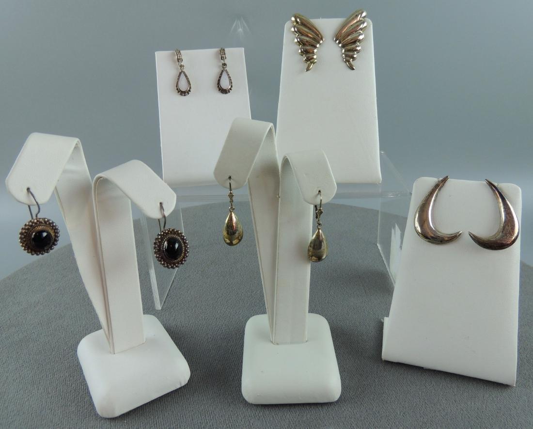 Vintage Sterling Silver Earrings - 5 pairs