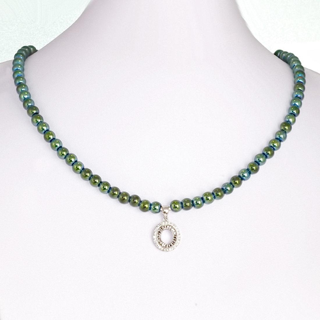Sterling Silver Green Mirror Hematite Zirconia Necklace
