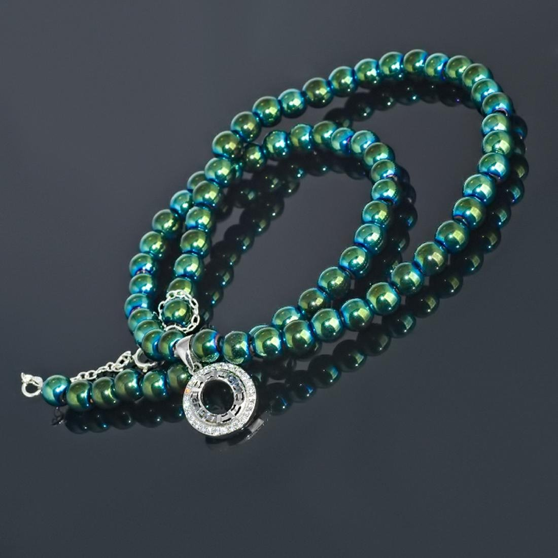 Sterling Silver Green Mirror Hematite Zirconia Necklace - 3