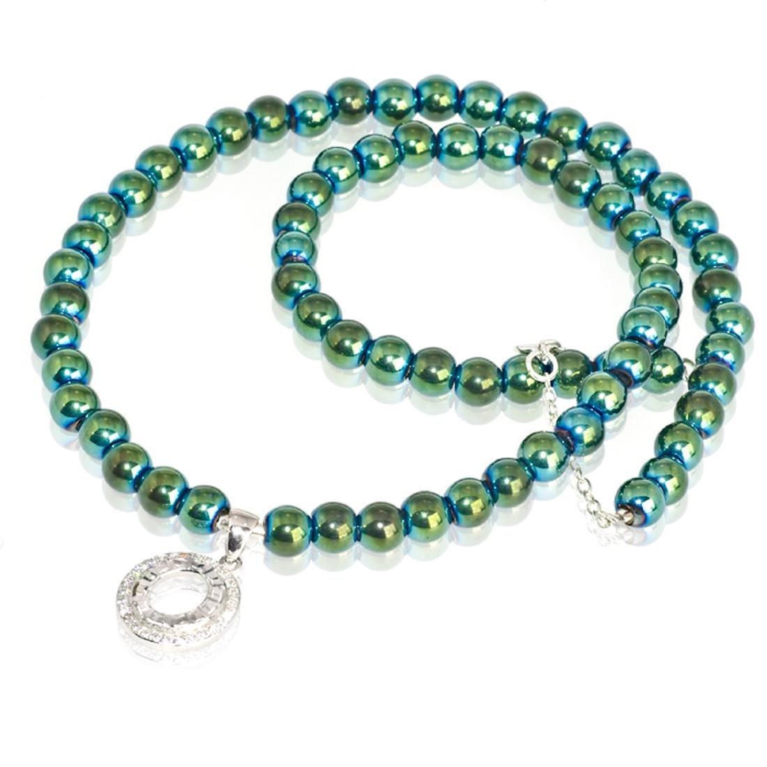 Sterling Silver Green Mirror Hematite Zirconia Necklace - 4