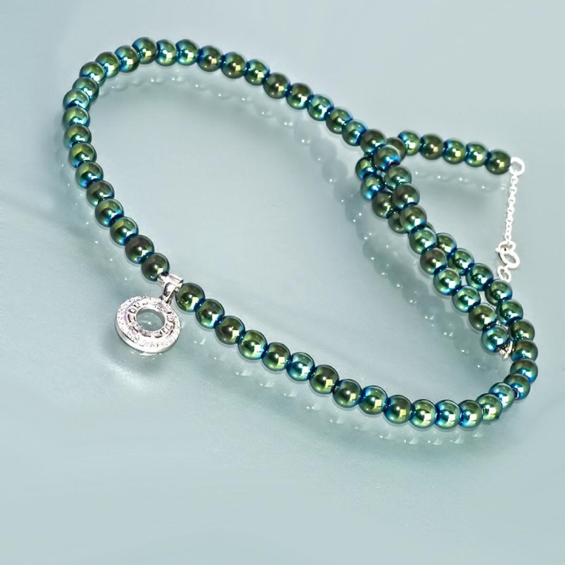 Sterling Silver Green Mirror Hematite Zirconia Necklace - 5