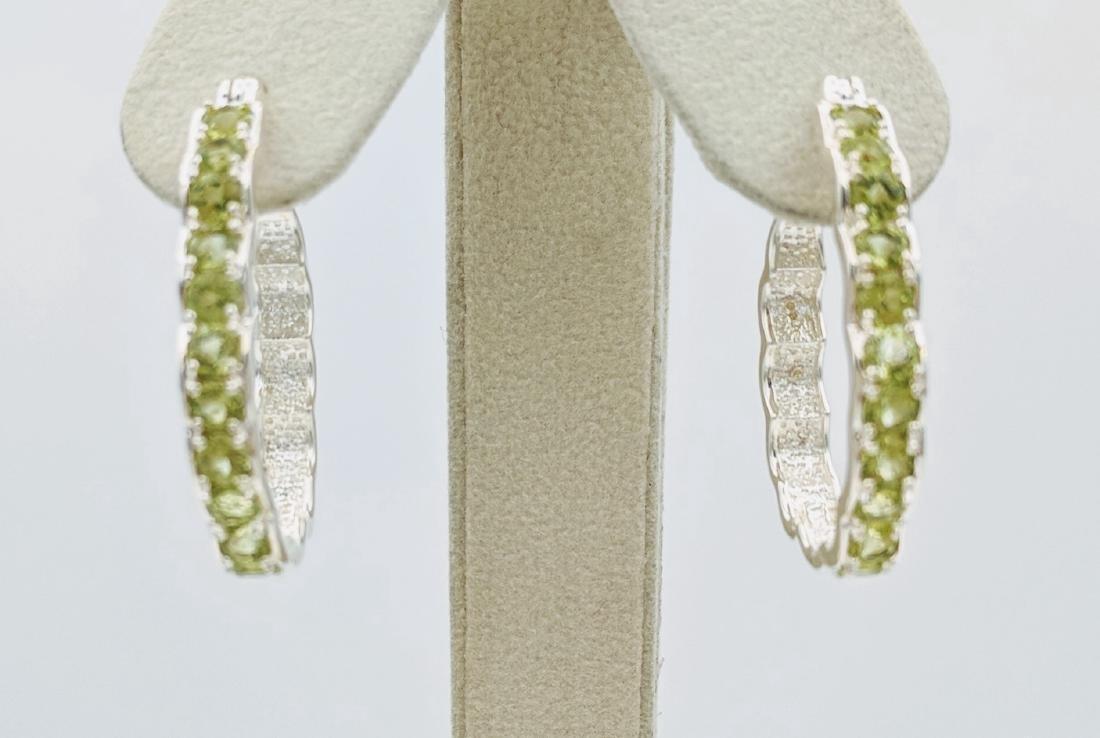 Sterling Silver Peridot Oval Hoop Earrings, .33ctw