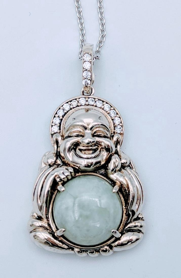 Sterling Silver Jade CZ Figural Buddha Necklace - 2