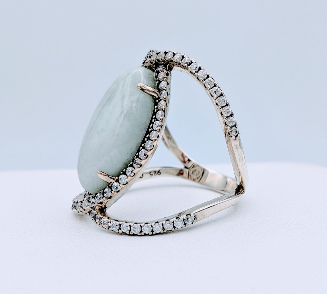Sterling Silver Jade Cubic Zirconia Infinity Style Ring - 2