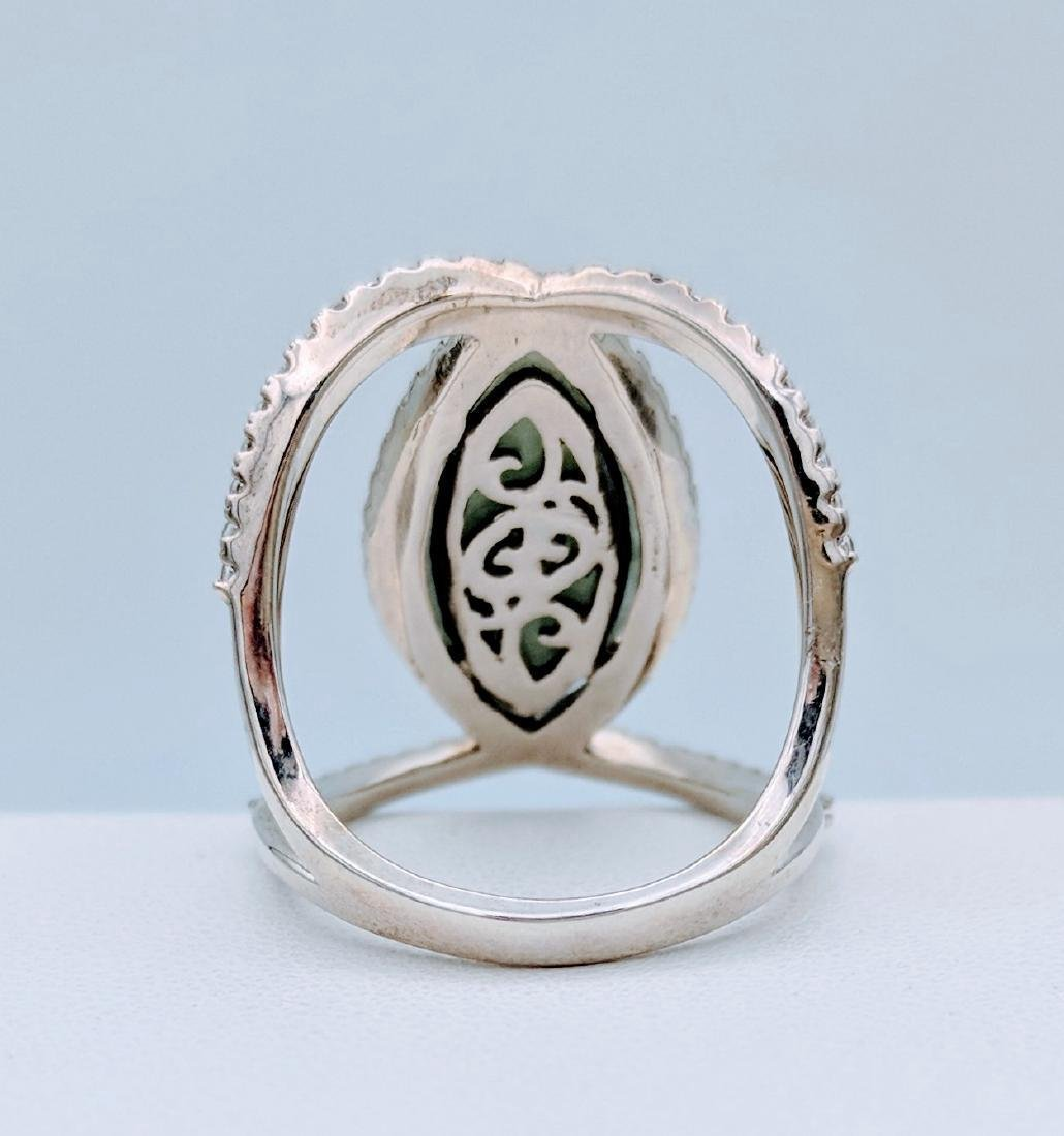 Sterling Silver Jade Cubic Zirconia Infinity Style Ring - 3