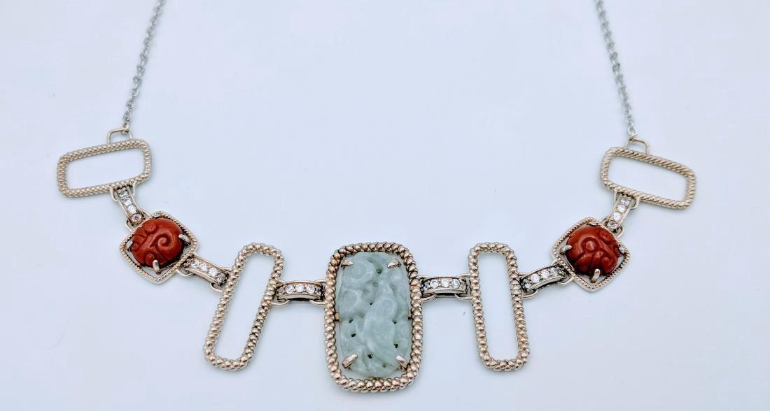Sterling Silver Jade Jasper Cubic Zirconia Necklace