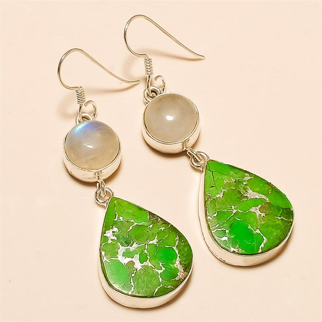 Green Copper Turquoise/Moonstone Earring Solid Sterling