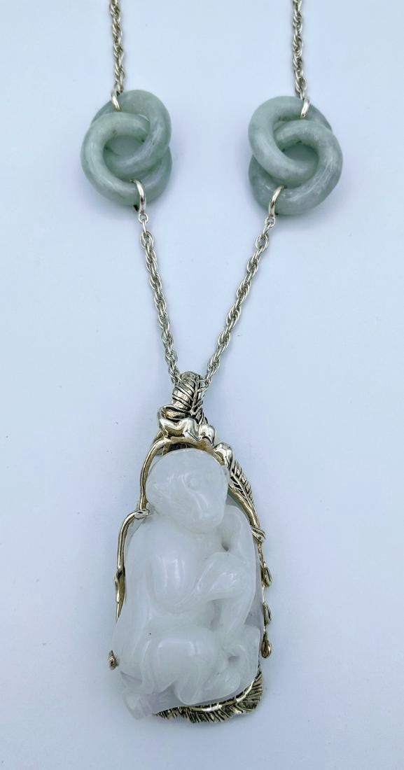 Sterling Silver Jade White Jadeite Monkey Necklace