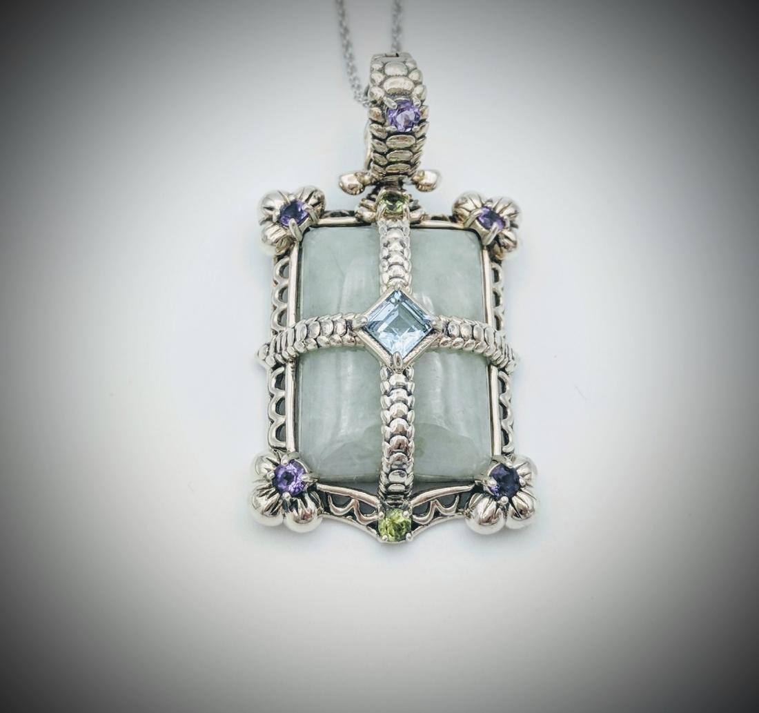Sterling Silver Jade Topaz Amethyst Peridot Necklace
