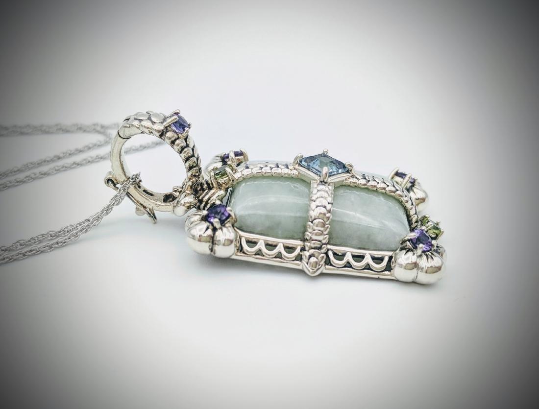 Sterling Silver Jade Topaz Amethyst Peridot Necklace - 2