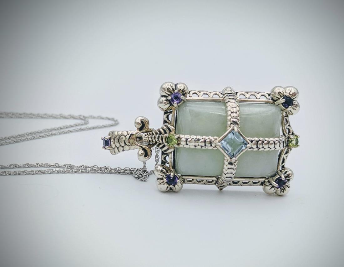 Sterling Silver Jade Topaz Amethyst Peridot Necklace - 3