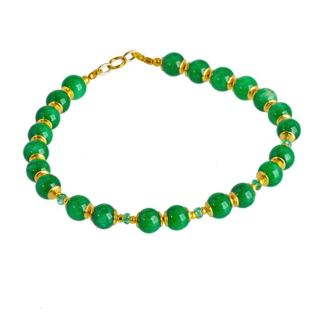 14K Gold Imperial Emerald Green Jade Bracelet