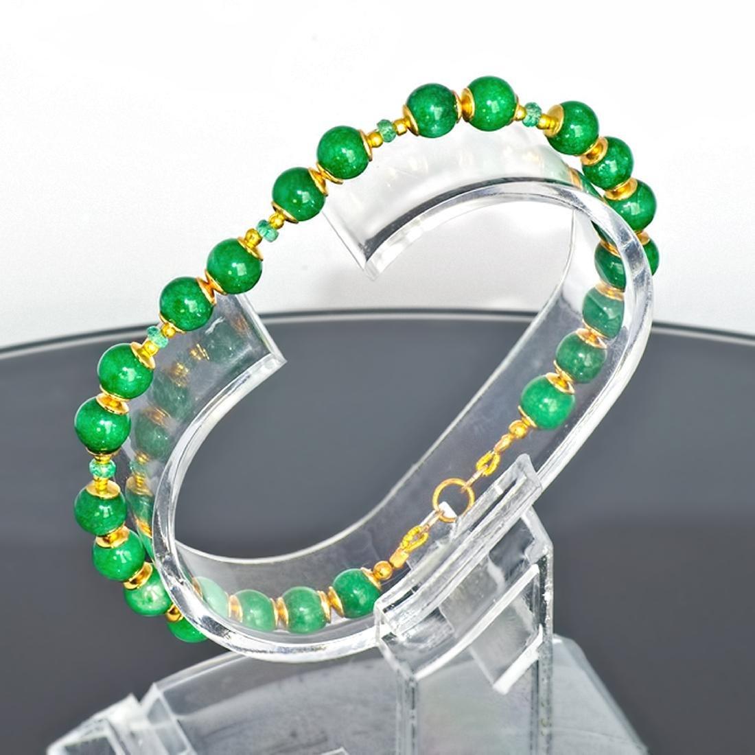 14K Gold Imperial Emerald Green Jade Bracelet - 2