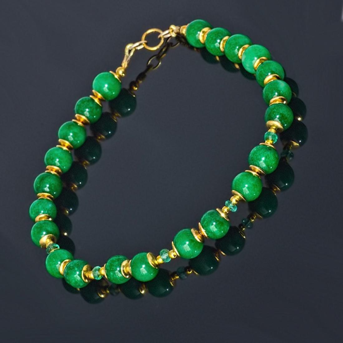 14K Gold Imperial Emerald Green Jade Bracelet - 3