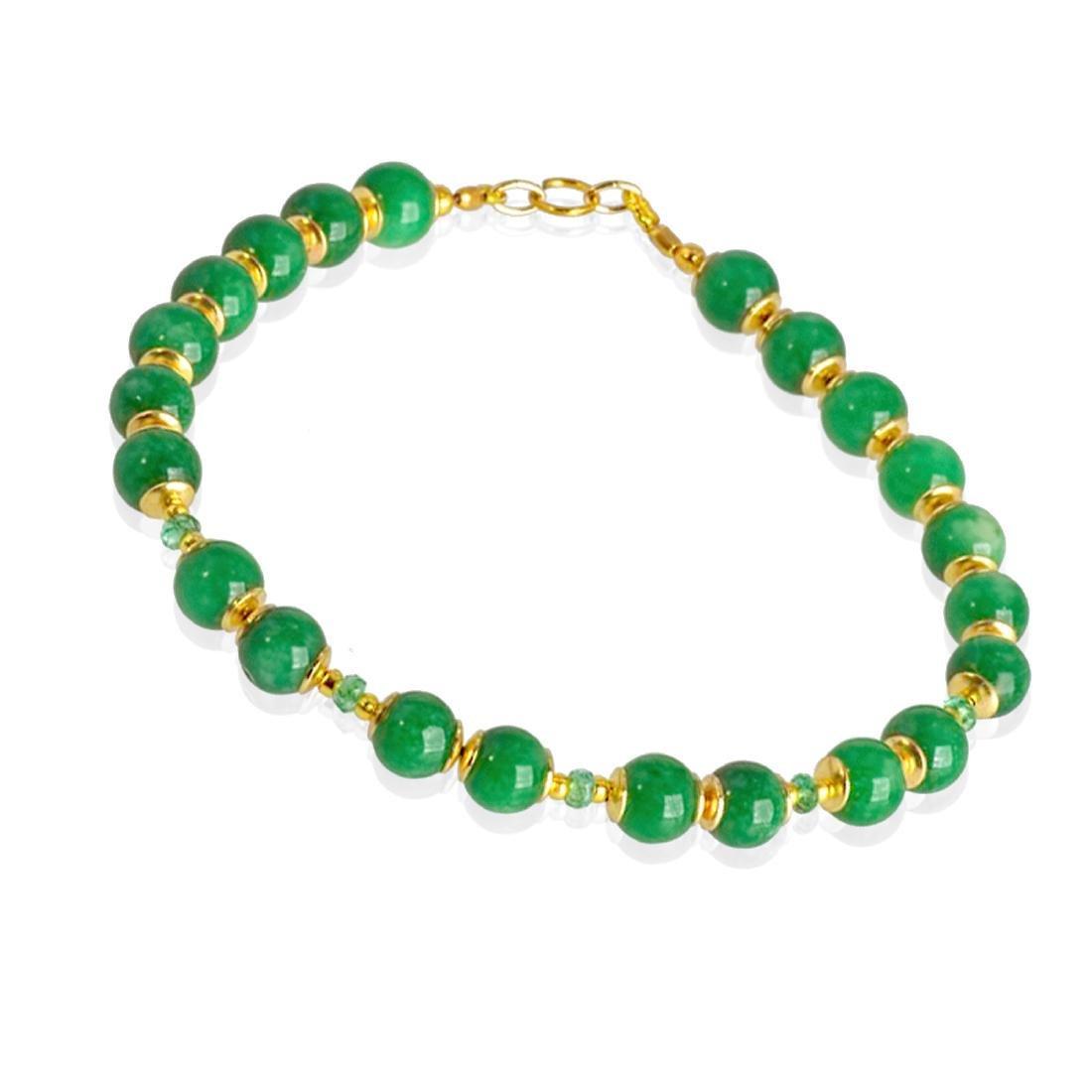 14K Gold Imperial Emerald Green Jade Bracelet - 4
