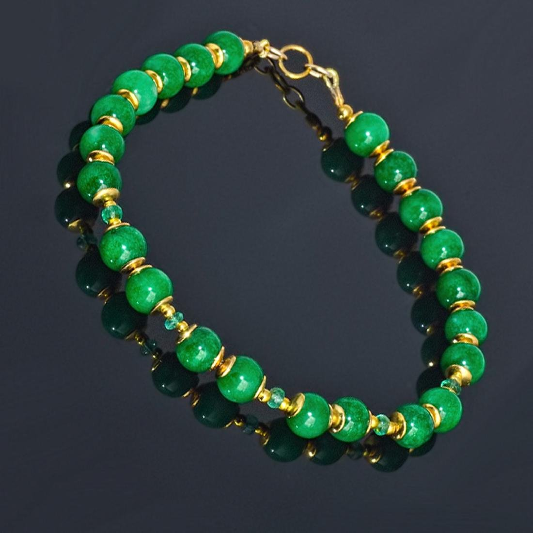 14K Gold Imperial Emerald Green Jade Bracelet - 5