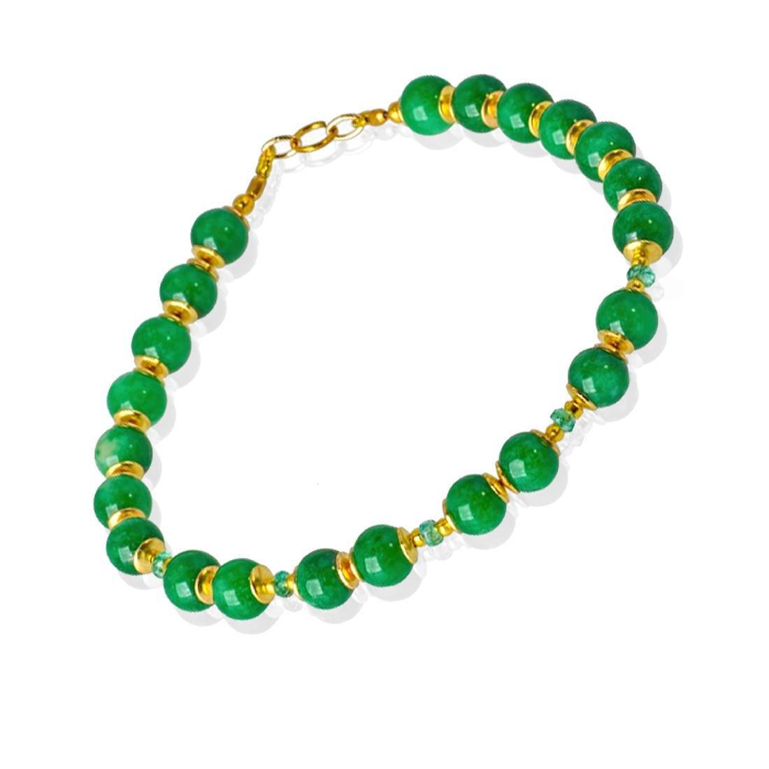 14K Gold Imperial Emerald Green Jade Bracelet - 6