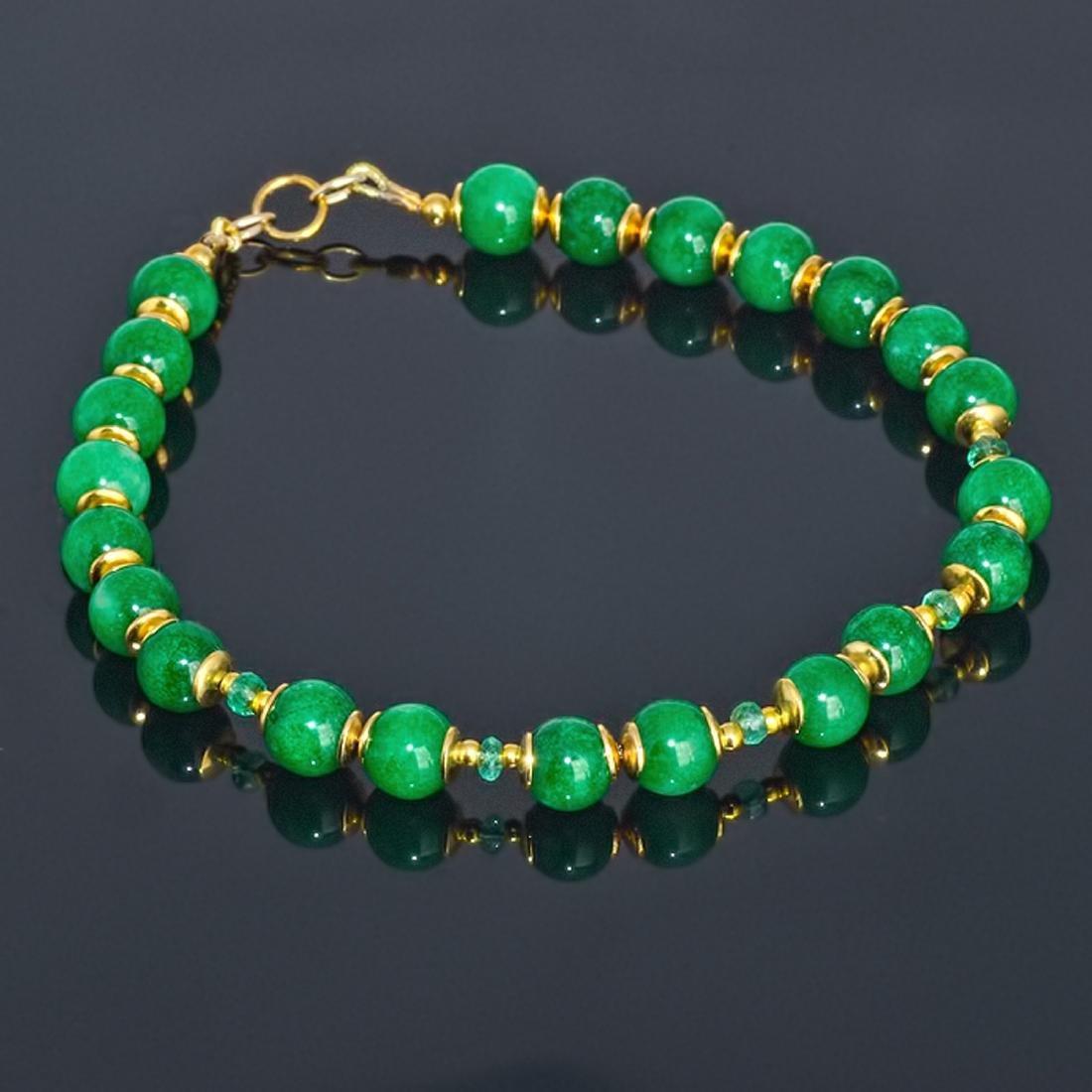 14K Gold Imperial Emerald Green Jade Bracelet - 7